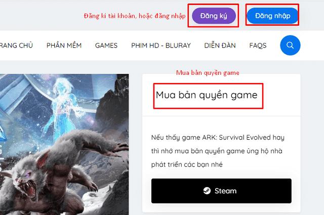 Bạn đăng ký, đăng nhập, hoặc mua bản quyền game