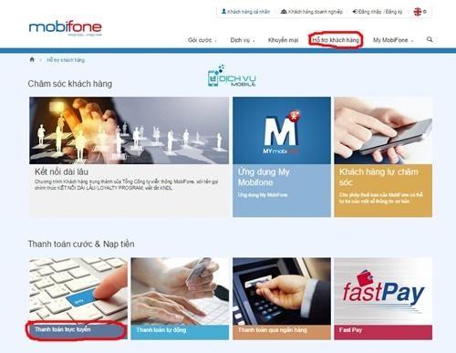 Truy cập vào Mobifone.vn -> Hỗ trợ khách hàng -> Thanh toán cước & Nạp tiền -> Thanh toán trực tuyến